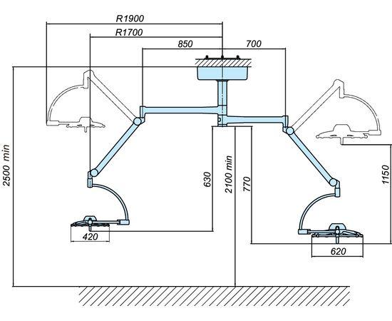 Светильник операционный потолочный «ЭМАЛЕД 500/300» — фото 2