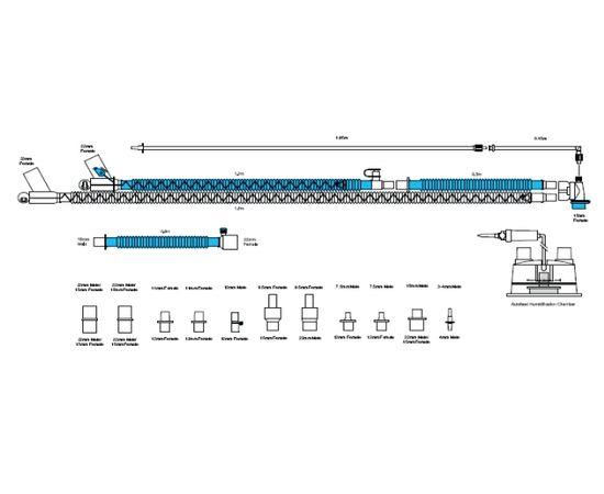 Viomedex Дыхательный контур с обогревом в линиях вдоха и выдоха с набором коннекторов для вентиляторов разных производителей — фото 1